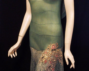 Bellasoiree Original Design 1920's Lace Metallic Floral Appliques silk One of a kind Vintage