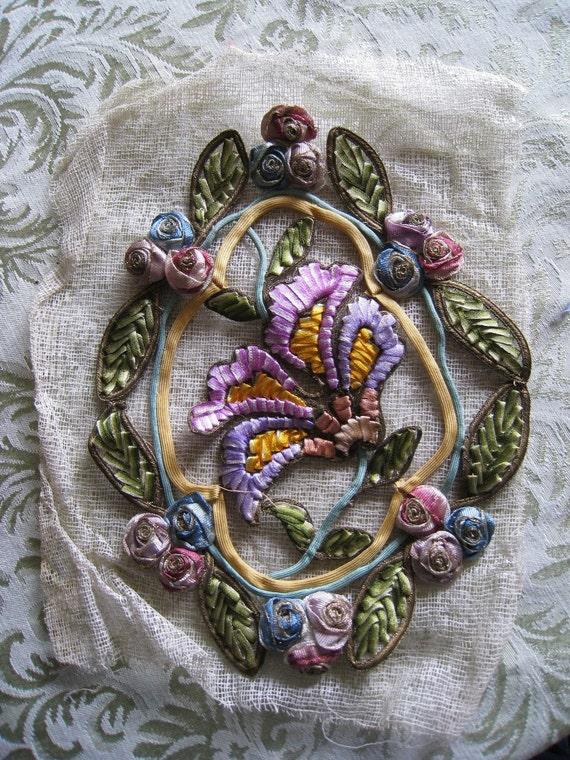 Antique Ombre Ribbonwork Flower Applique French Crinoline Original Rare Large Floral