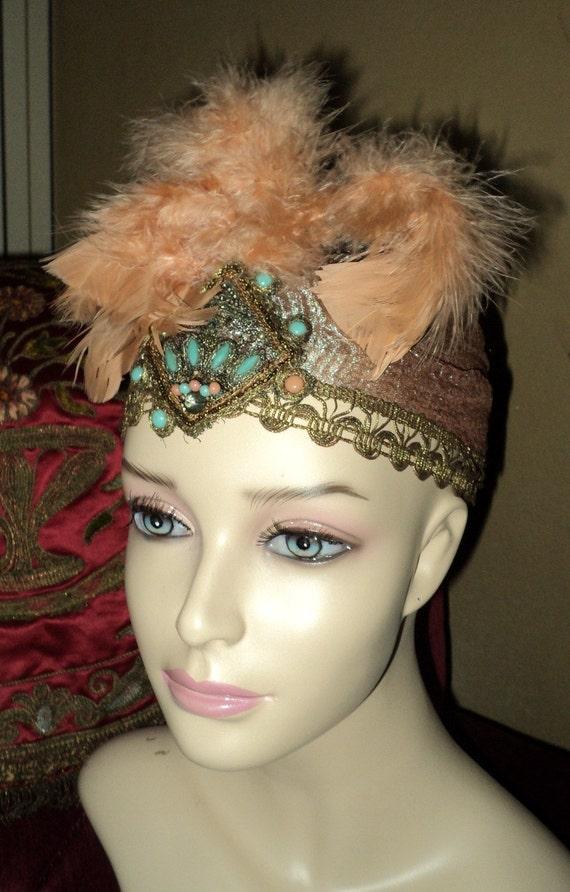 1920's Flapper Era Art Deco Headpiece Hat Cloche Plumes Turqouise Metallic Turban Bellasoiree