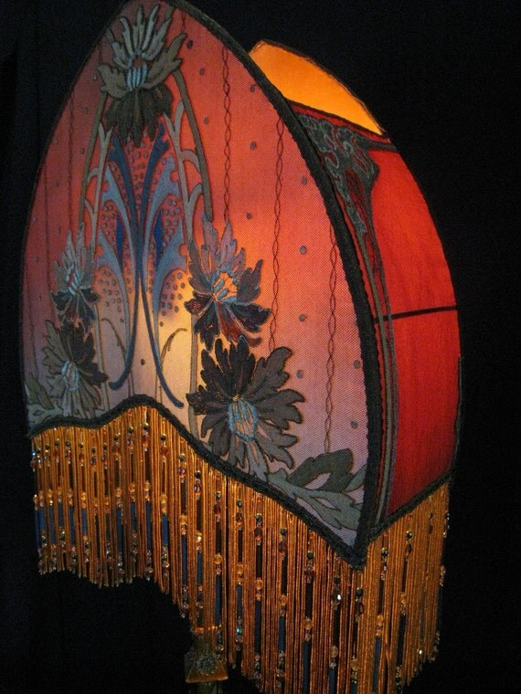 Antique lamp shade arts crafts handmade art deco art for Antique floor lamp with fringed shade