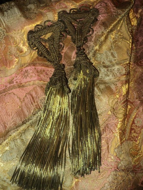 Rare Ex-Large Antique Bullion Tassels Lampshade French c 1900 Metallic Pair Hold for Carol