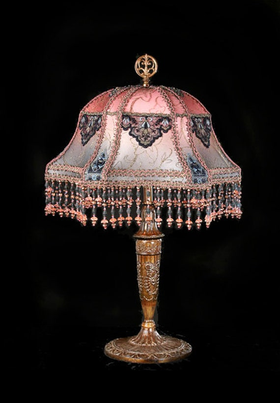 Antique One of  kind Handmade Silk lampshade metallic trim hand beaded boudoir lamp 1920s