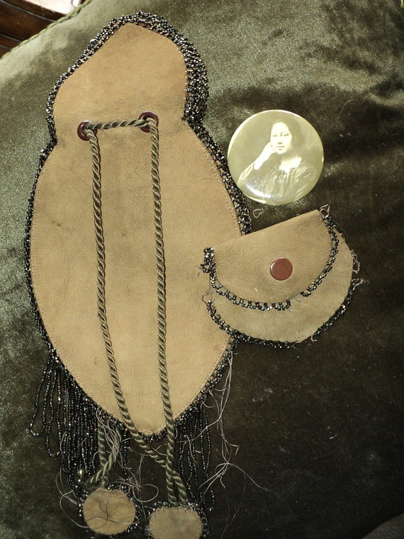 Antique Turn of the Century American Indian Leather Beaded Purse Coin and original Photo of maker