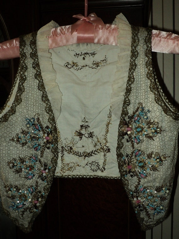 Antique Handmade French Roccoco Style Vest Marie Antionette Metallic Lace Ruffled collar Beaded Crusty