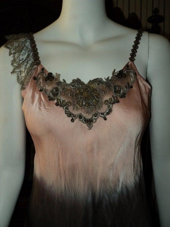 Bellasoiree original design camisole with antique metallic lace, 1920s metallic embroidered applique and metallic trim