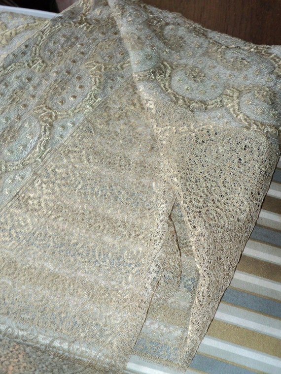"Edwardian Antique Metallic Lace Flounce Insertion Gown Dress Art Deco Lame Yardage 68""x14"""