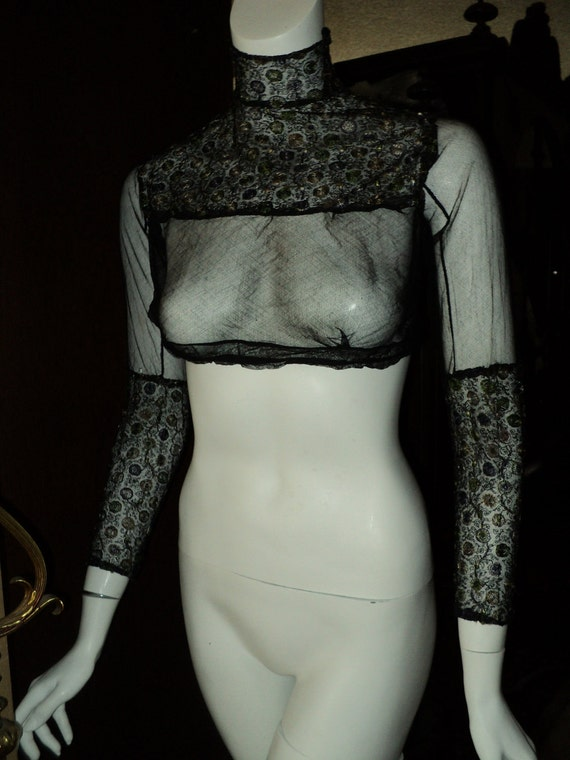 Victorian Embroidered  Net Top Metal Stays original bodice 1890s High Collar open back