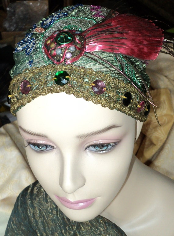 1920s Beaded Metallic net Turban on Silk handmade Flapper with Headpiece Feather Peacock  cabachons