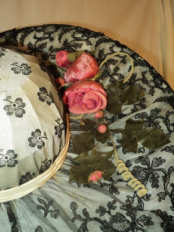 FINAL SALE Edwardian Titianic Era Silk Florals Black Lace Gorgeous Museum Quality Hat Millinery Historical High Fashion 1910's.