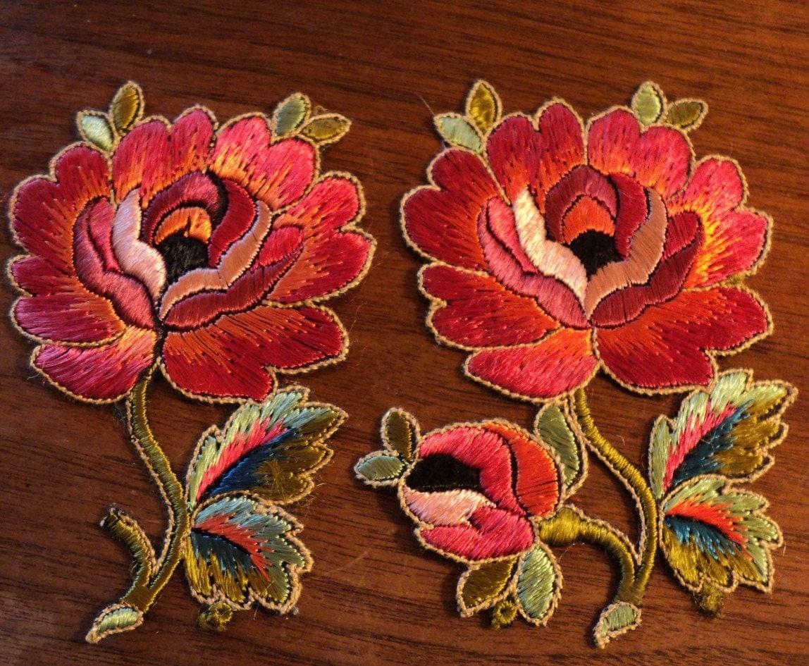 antique 1920 39 s silk embroidered floral applique art deco. Black Bedroom Furniture Sets. Home Design Ideas