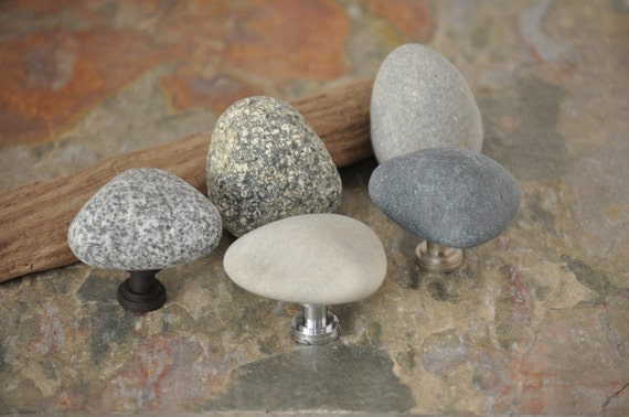 Reserved for mmd1 - Beach Rock Cabinet Knobs - Set of Six Triangles