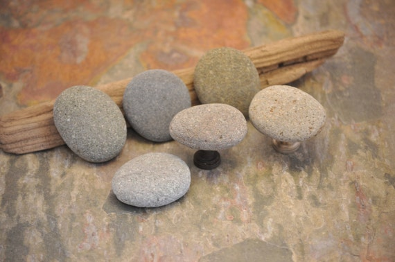 Beach Rock Cabinet Knobs - Set of 6 Grey Stones