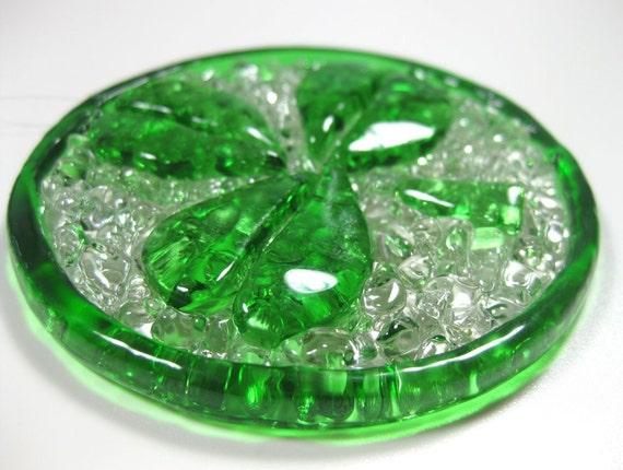 Items similar to Crushed Glass Suncatcher, Shamrock Green