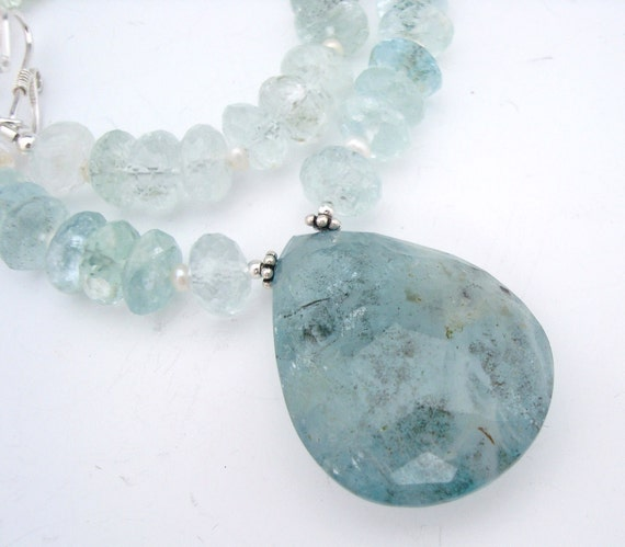Aquamarine Teardrop Pendant Gem Necklace EE Designs