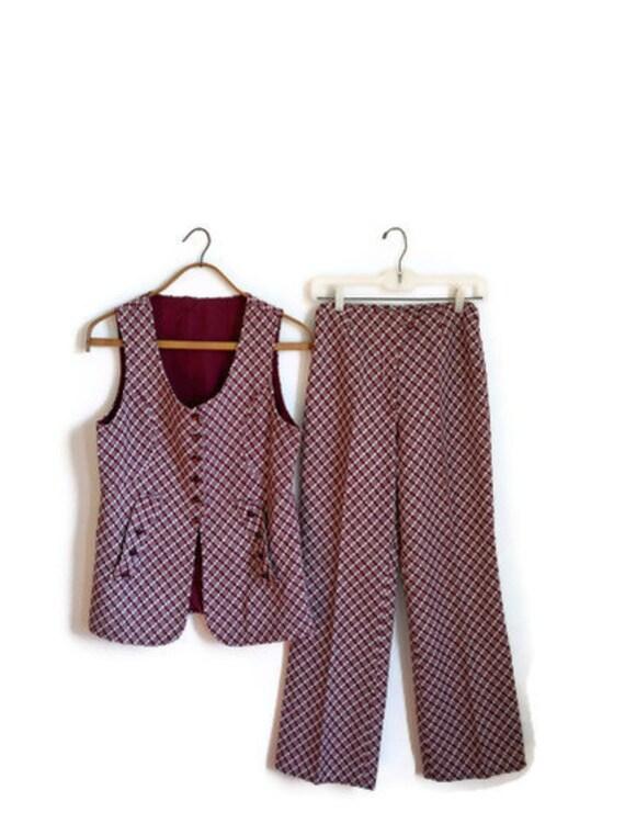 50% Off Sale: Maroon & White Checkered Disco Suit - Disco Diva