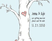 Tree Save the Date Cards - postcards. Unique Original Illustration. Hand Drawn.