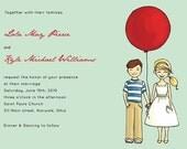 Custom Illustrated Vintage Inspired Retro Balloon Wedding Invitation Sample