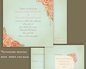 Vintage Rose Garden Wedding Invitation. Hand drawn. Illustrated.Romantic. Sample Set