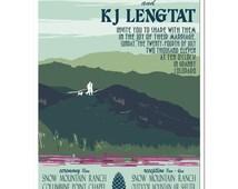 Vintage Summer Mountain Wedding Invitation and Reply Postcard set - DEPOSIT