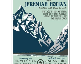 Vintage Mountain Wedding Invitation and Reply Postcard set - SAMPLE