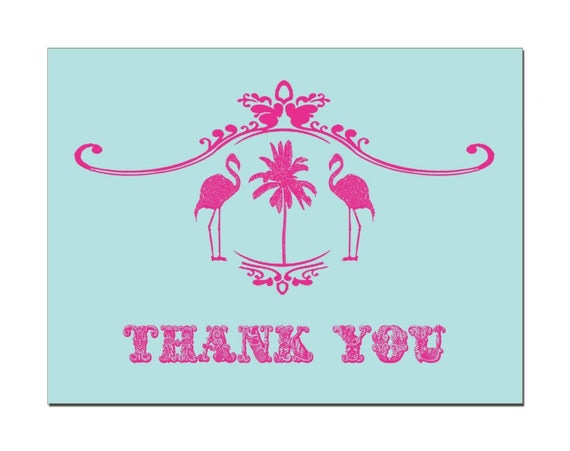 Vintage Flamingo Thank You Cards (set of 20)