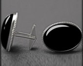 Cuff Links Sterling Silver Jewelry Black Onyx Classic Handsome Mens Gift