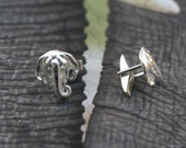 Fathers Day Gift - Mens Jewelry - Elephant Cuff Links- Sterling Silver