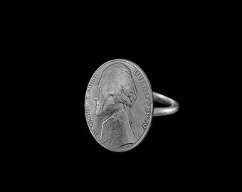 Coin Jewelry Nickle Ring Real USA Coin - Custom Dates Available