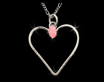 Sterling Silver Pendant with pink stone