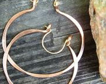 Hoop Earrings Handcrafted Pure Copper