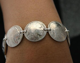 Vintage Coin Buffalo Nickle Bracelet Sterling Silver Links