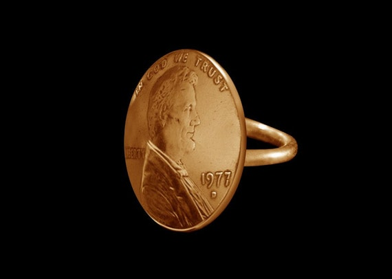 Unisex Jewelry Penny Ring Real US Coins
