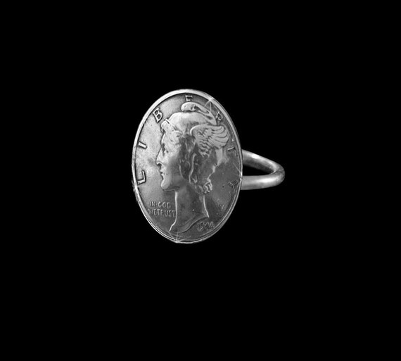 Coin Jewelry Vintage Liberty Dime Ring