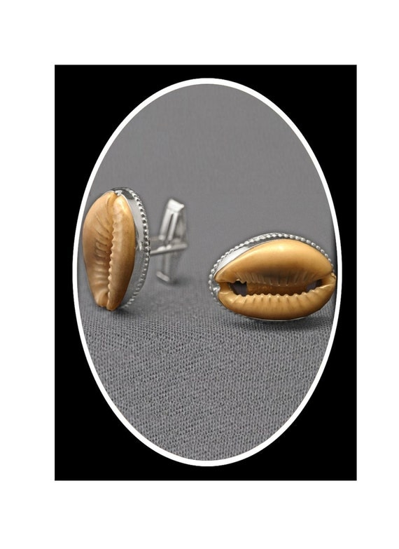 Holiday Gift Jewelry for Men Cowrie Shell Cuff Links Sterling Silver