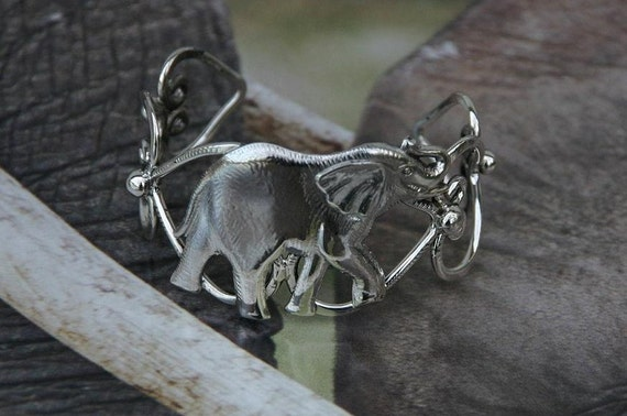 Sterling Silver Cuff Bracelet Elephant Bangle Unique Afrocentric Jewelry