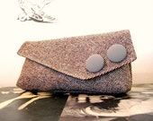 Coffee and Cream Tweed Clutch  LAST ONE   Cyber Monday Sale