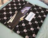 Black Knitting Needles and Skulls Checkbook Cover