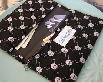 Black Knitting Needles and Skulls Checkbook Cover