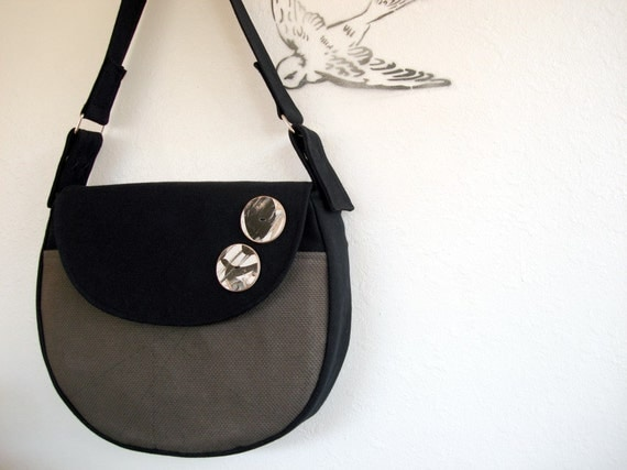 Christmas in July Sale  Black and Gray Shoulder Bag with Recycled Skateboard Buttons READY TO SHIP