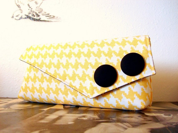 Daisy Yellow Houndstooth Large Clutch READY TO SHIP