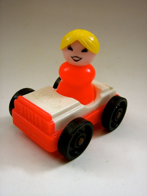 fisher price little people set orange car with woman. Black Bedroom Furniture Sets. Home Design Ideas