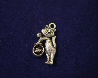 pewter cat and fish bowl charm