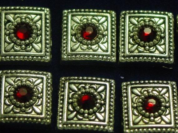 10 red Swarovski crystal pewter sliders