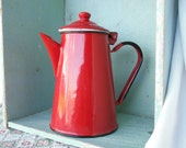 VINTAGE Enamel Coffee Pot  Kettle Red White Black