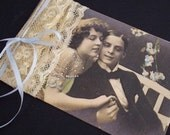 Vintage lace on tag with vintage photo