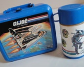 1980s Vintage GI Joe Lunch Box Thermos Aladdin Blue Plastic