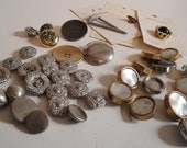 Vintage Metal Buttons Gold Silver Brass Pearl lot of 42 Loose