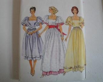 1980s Vogue Sewing Pattern 8303 Women Dress Dirndl Skirt Ruffle Sleeves Size 10 or 12