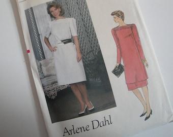 1980s Vintage Sewing Pattern Arlene Dahl Vogue 8327 Size 14 Dress Tunic Skirt