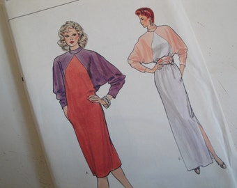 Vintage Vogue 8545 Sewing Pattern Dress Size10 Loose Fitting Straight Dress Dolman Sleeves